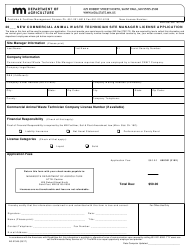 """Form AG-01348 """"New Commercial Animal Waste Technician Site Manager License Application"""" - Minnesota"""