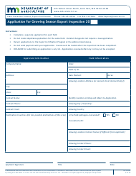 "Form AG-00999 ""Application for Growing Season Export Inspection"" - Minnesota"