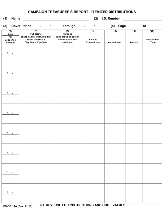 Form DS-DE14A  Printable Pdf