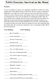 Survival on the Moon Worksheet With Answers