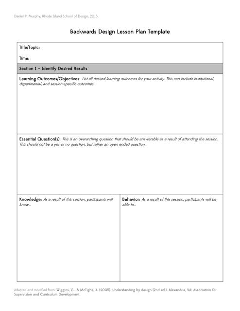 Backwards Design Lesson Plan Template - Daniel P. Murphy Download ...
