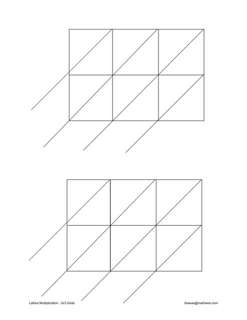 """Lattice Multiplication Chart - 2x3 Grids"" Download Pdf"