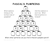 """""""Pascal's Pumpkins Worksheet With Answer Key"""""""