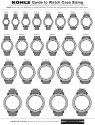 Kohl's Watch Sizing Guide Sheet