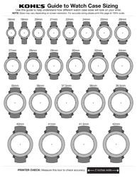 Kohl's Watch Sizing Guide Sheet