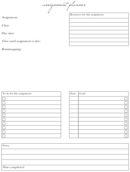 """""""Class Assignment Planner Template"""" Download Pdf"""