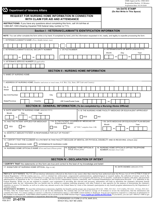 VA Form 21-0779 Fillable Pdf