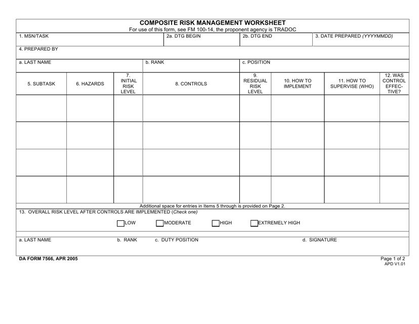 DA Form 7566  Printable Pdf