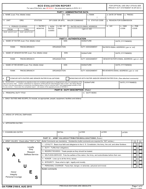 DA Form 2166-8 Fillable Pdf