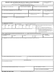 DD Form 1610 Request and Authorization for TDY Travel of DoD Personnel