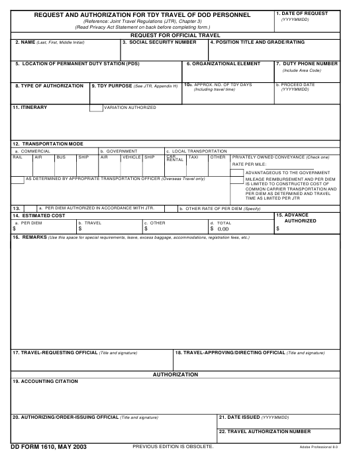 DD Form 1610 Fillable Pdf