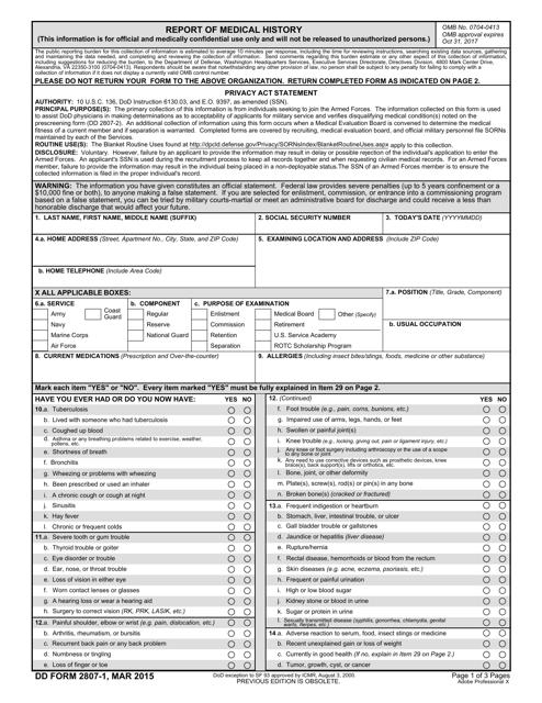 DD Form 2807-1  Fillable Pdf