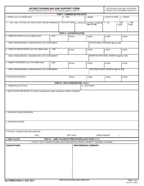 DA Form 2166-8-1  Printable Pdf