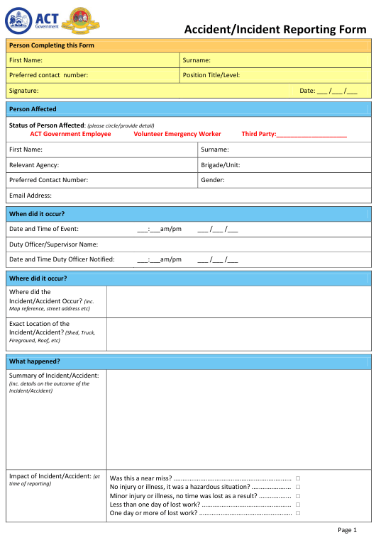 Accident/Incident Reporting Form - Australia Download Pdf
