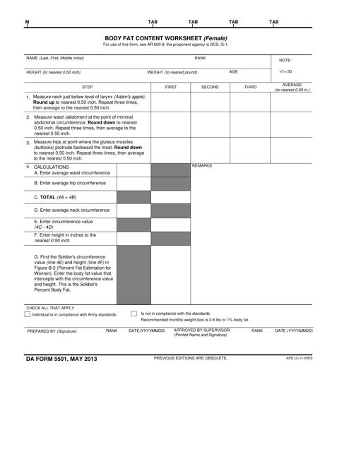 DA Form 5501  Fillable Pdf