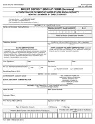Form SSA-1199-GE Direct Deposit Sign-Up Form (Germany)