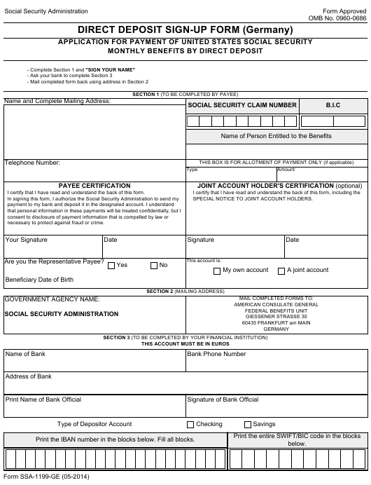 Form SSA-1199-GE Fillable Pdf