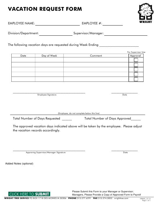 """""""Vacation Request Form - Wright Tree Service"""" Download Pdf"""
