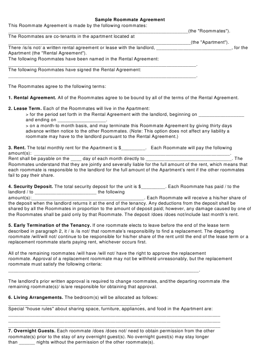 """Sample Roommate Agreement Template"" Download Pdf"