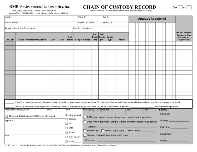 """Chain of Custody Form - Rmb Environmental Laboratories, Inc"" Download Pdf"