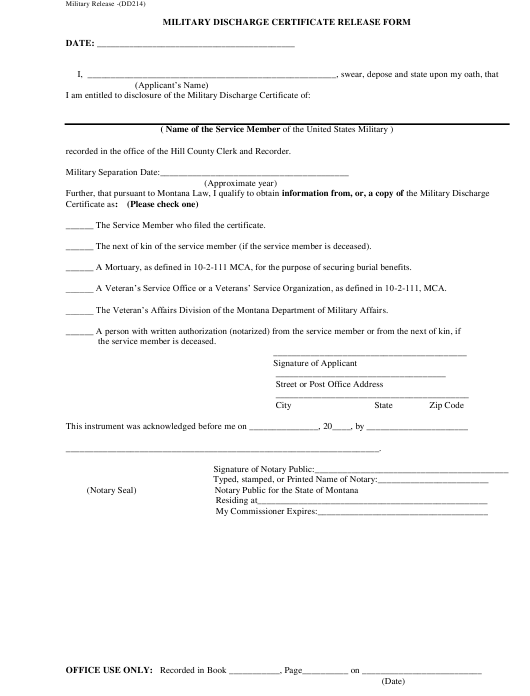Military Discharge Certificate Release Form Download