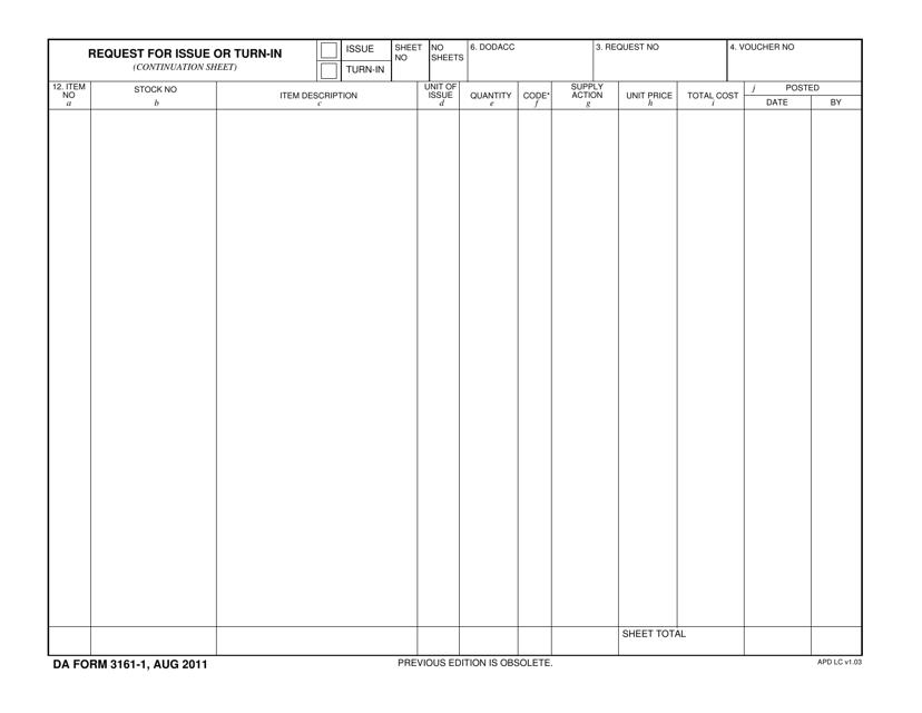 DA Form 3161-1  Fillable Pdf