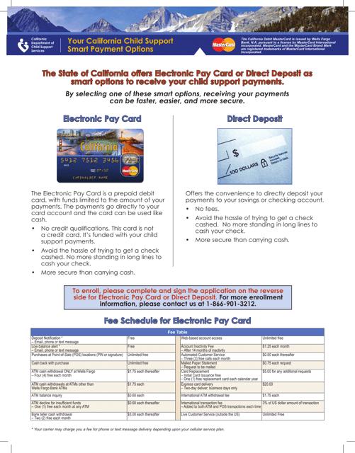"""Debit Mastercard Card or Direct Deposit Enrollment/Authorization Form"" - California (English/Spanish) Download Pdf"