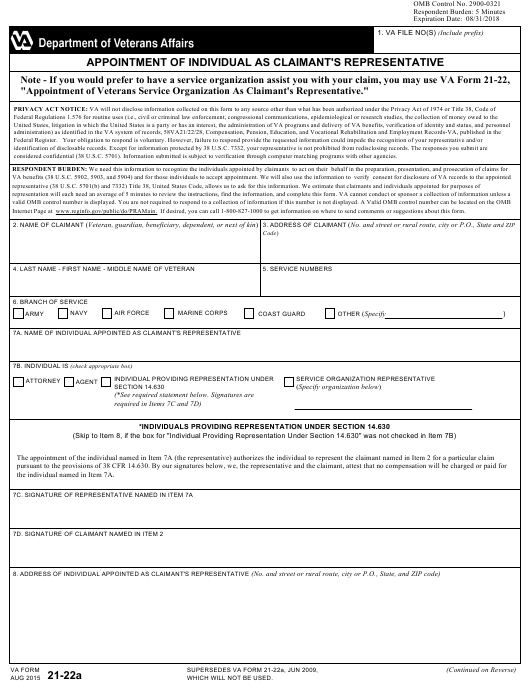 VA Form 21-22A Printable Pdf