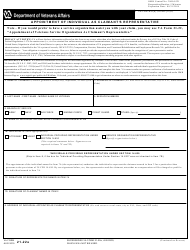 """VA Form 21-22A """"Appointment of Individual as Claimant's Representative"""""""