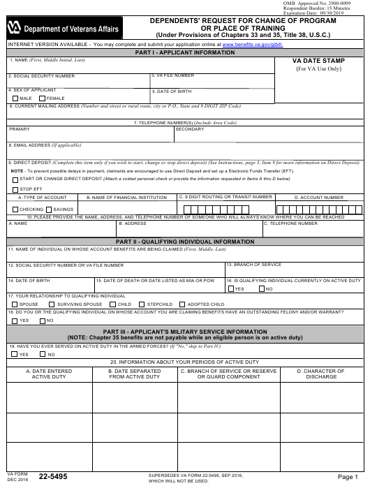 VA Form 22-5495 Fillable Pdf