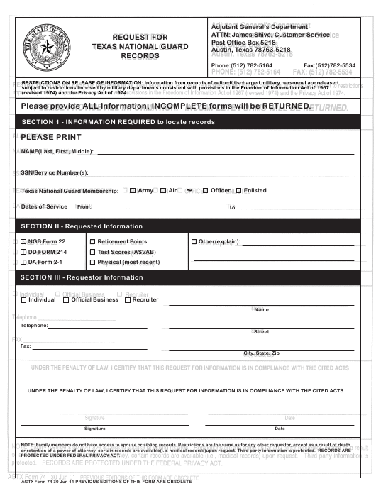 Form 74 Download Fillable PDF, Request for Texas National