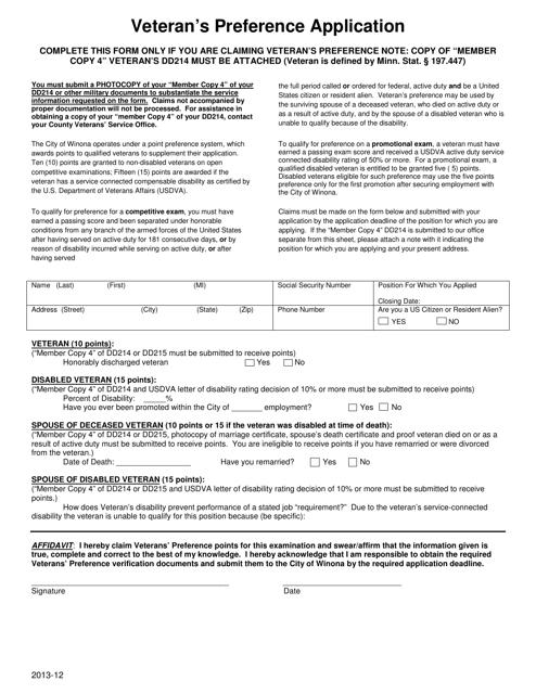 """Veteran's Preference Application Form"" - City of Winona, Minnesota Download Pdf"