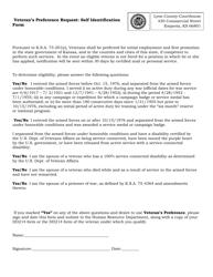 """Veterans Preference Request: Self Identification Form"" - Kansas"