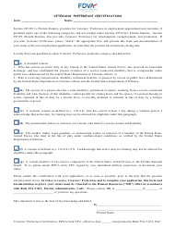 "FDVA Form VP-1 ""Veterans' Preference Certification"" - Florida"