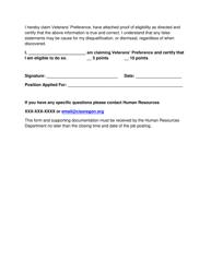 "Sample ""Veterans' Preference Form (Ors 408.230)"" - Oregon, Page 2"
