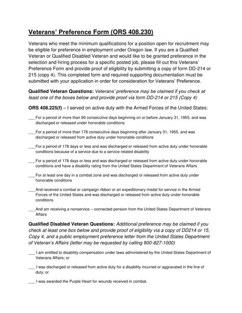"""Sample """"Veterans' Preference Form (Ors 408.230)"""" - Oregon Download Pdf"""