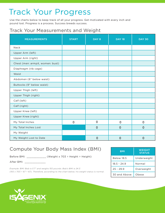 Tracking Progress Measurements And Weight Chart Template Isagenix