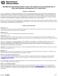 """VA Form 21-0845 """"Authorization to Disclose Personal Information to a Third Party"""""""