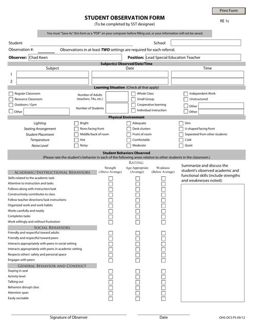 """""""Student Observation Form"""" - Virginia Download Pdf"""