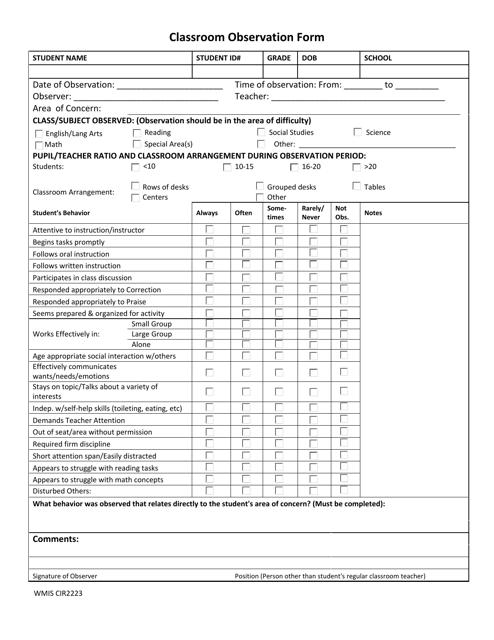 """""""Classroom Observation Form - Wakulla County Schools"""" Download Pdf"""