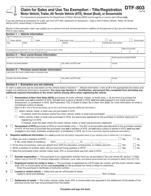 Form DTF-803  Printable Pdf