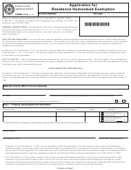 "Form 11.13 ""Application for Residence Homestead Exemption"" - Harris County Appraisal District, Texas"
