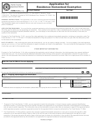 Form 11.13 Application for Residence Homestead Exemption - Harris County Appraisal District, Texas