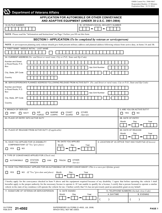 VA Form 21-4502  Printable Pdf