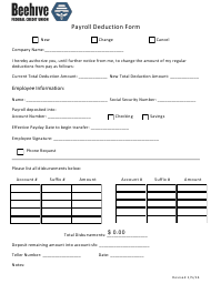 """""""Payroll Deduction Form - Beehive Federal Credit Union"""""""