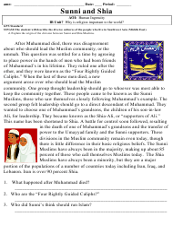 """Gps Sunni and Shia Reading Comprehension Worksheet - 7th Grade"" - Georgia (United States)"