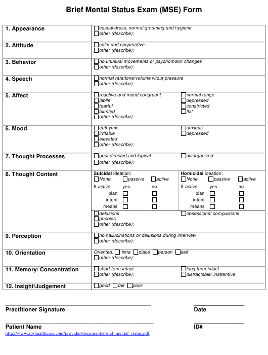 Brief Mental Status Exam (Mse) Form Download Printable PDF