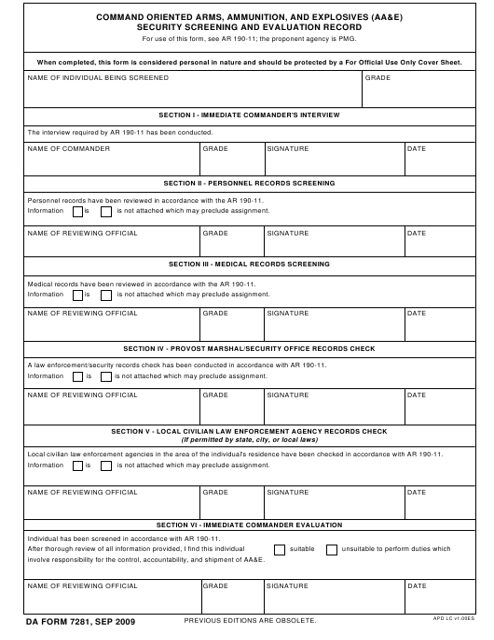 DA Form 7281 Fillable Pdf
