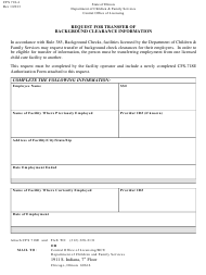 """Form Cfs718-4 """"Request for Transfer of Background Clearance Information"""" - Illinois"""