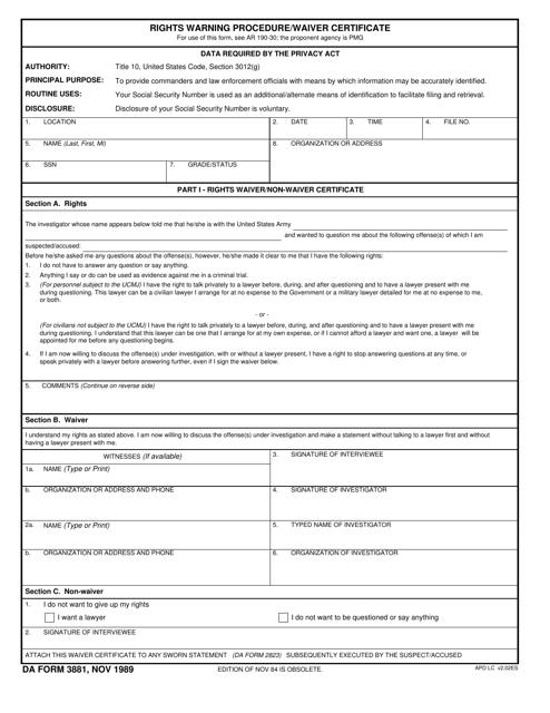 DA Form 3881  Fillable Pdf
